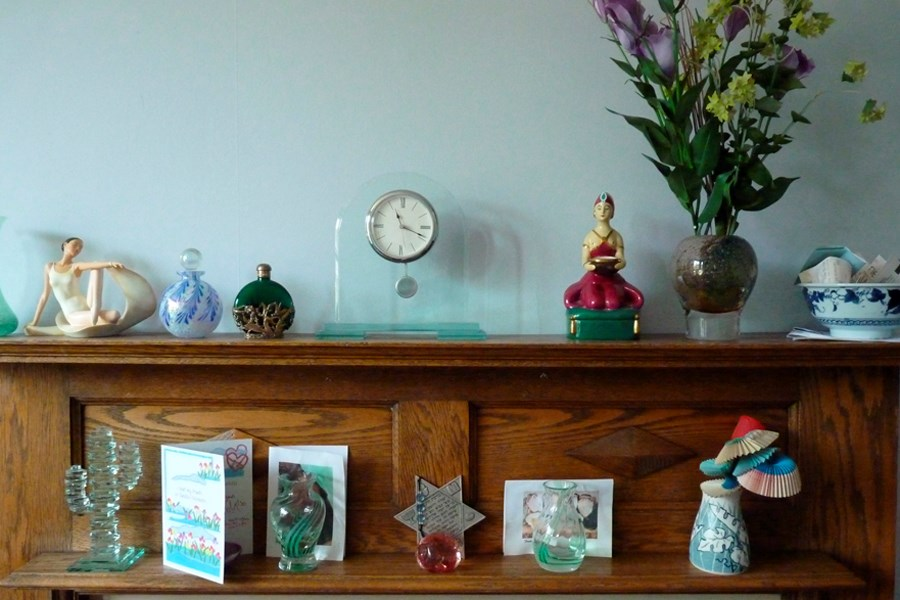Kate L's mantelpiece in her house in Anerley. Object number 512/2011-8